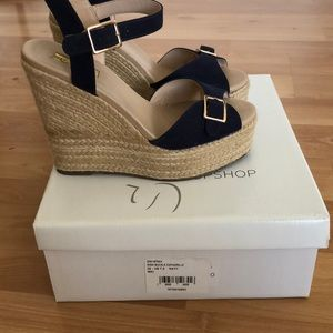 Topshop Shoes - In box Navy Top Shop Wish Buckle Espadrille. 7.5